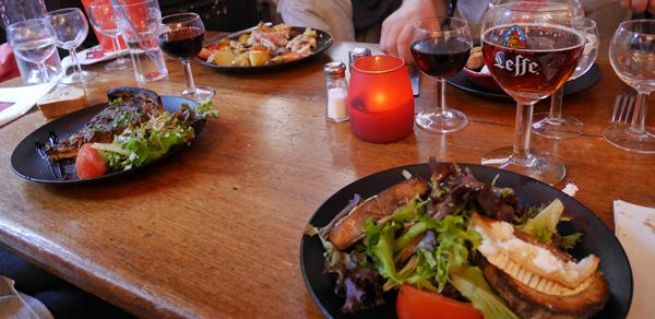 前菜いろいろ、ワイン