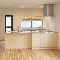 ステンレスカウンターにシナ合板で造った造作キッチン。